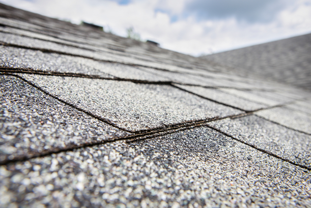 shingle roof, blue sky, white clouds, roof maintenance, daytonroofing,